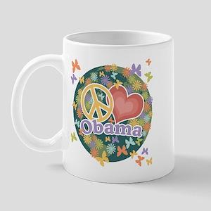 Peace Love Obama [globe] Mug